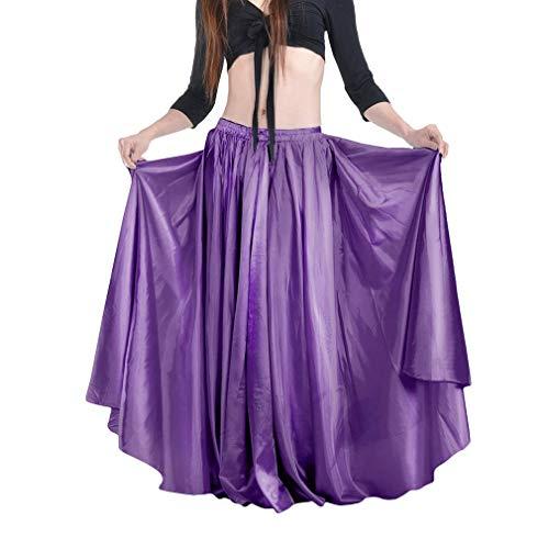 Kunfang Spanischer Flamenco Tanzrock mit Elastischer Taille für Damen Solid Satin Smooth Bauchtanzkleid Spanien Trachten