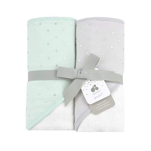 Just Born Boys and Girls Newborn Infant Baby Toddler 2-Pack Hooded Bath Towel Set, Mint, One Size