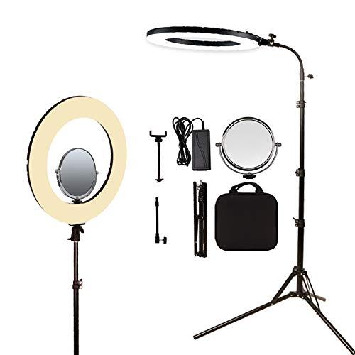 GIJUANRING 45,7 cm 60 W dimmbare 3200–5600 K LED-Ringlicht, Fotografie-Beleuchtung, Make-up, Schönheits-Beleuchtung, Augenbrauen-Tattoo-Lampe, Studio, Video, Shooting, Kreis-Licht-Set mit Ständer, Spiegel, Tragetasche