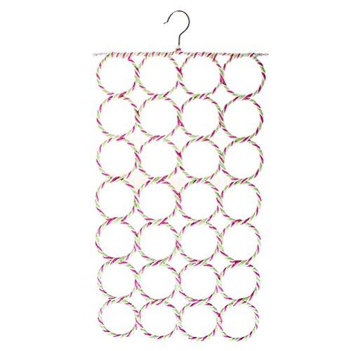 SUMAJU Ring Rope Slots Holder, 28-Hole Foldable Hook Scarf Wraps Shawl Storage Hanger Organizer Multicolour