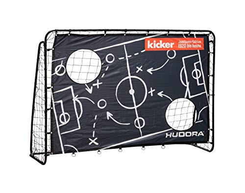 HUDORA Kinder & Erwachsene Fußballtor Trainer Edition, Matchplan | Fußball-Tor Garten mit Torwand im exklusiven Kicker Design, schwarz, 213 x 152 x 76 cm