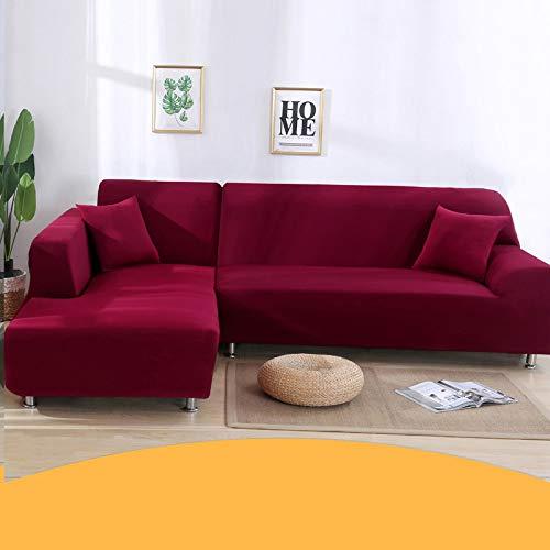 YANJHJY Funda de sofá elástica para Sala de Estar, 1/2 / 3/4 Seater Corner Sofá Cubiertas Sofás universales Slipcover Stretch L en Forma de Spandex Protect, Rojo Vino, 2 Asientos 145,185cm