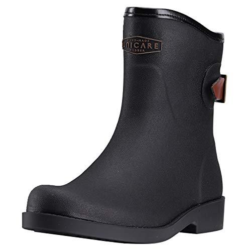 UNICARE Womens Short Rain Boots Mid Calf Rubber Rain Shoes Waterproof Anti-Slip Garden Shoes Work Boots Handmade(Black,Size 8)