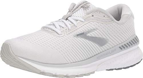 Brooks Womens Adrenaline GTS 20 Running Shoe - White/Grey/Silver - B - 6.5