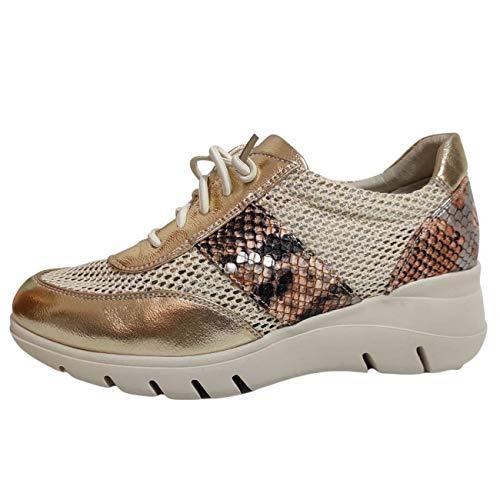 Encarni Zapatería - Zapatillas Deportivas Mujer con Estilo | Bambas Comodonas Cuña | Zapato para Vaqueros | Tenis Plataforma Casual | Primavera Verano (Dorado, 40)