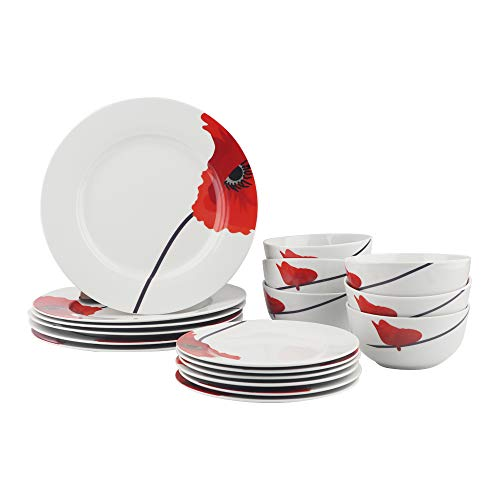 AmazonBasics 18-Piece Kitchen Dinnerware Set, Plates, Dishes, Bowls, Service for 6, Poppy