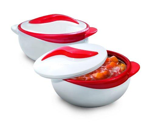 Pinnacle Servierschüssel für Salat / Suppenteller – Thermoschüssel mit Deckel – tolle Schüssel für Urlaub, Abendessen und Party, 2 Stück 1.5 qt. rot