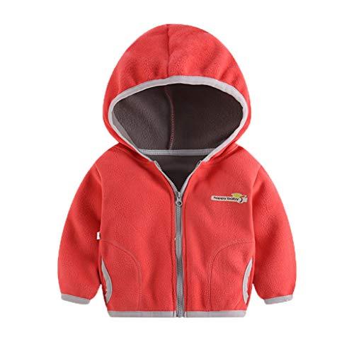 Livoral Kapuzenjacke für Kinder Kleinkind, Baby, Mädchen, Kapuzenbrief, Sweatshirt, Windjacke, Mantel(Wassermelonenrot,3-4 Jahre)