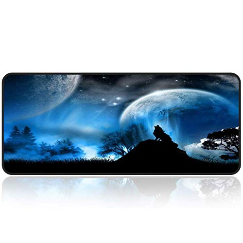 KINGCOO Gaming Muismat Extended Groot Muismat, rechthoekige anti-slip rubberen basis Gaming Mousepad Rand Genaaide Muismat voor computer PC en laptop, 900x400x2mm Nachtmond/Wolf