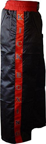 TS Kickboxhose aus Satin | Schwarz mit Pinken Streifen (150)