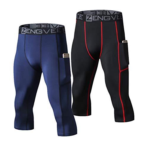HUAKANG Paquete de 2 mallas de compresión para hombre, capa base para correr con bolsillos, polainas deportivas