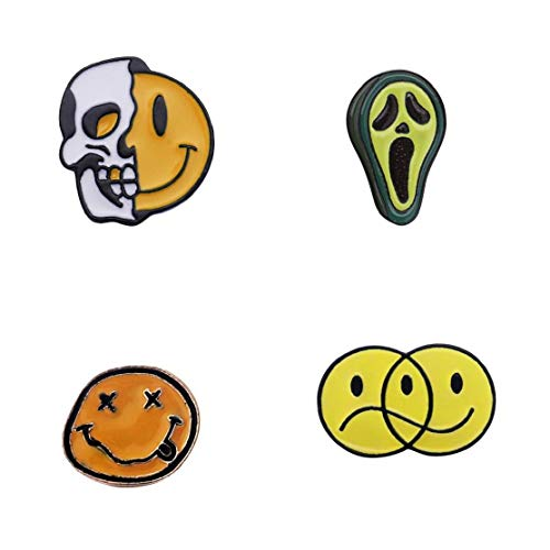Culer 4pcs Emoticonos Broches Placas Feliz Triste Miedo Esmalte Mochila Fija para Diversión De Los Amigos Regalos De Joyería (Estilos Azar)