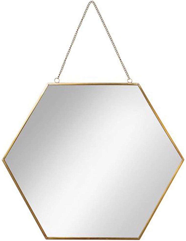 Makeup Mirror Geometry golden Copper Hexagon Mirror Bathroom Mirror Bedroom Mirror (color   gold, Size   30  26  15cm)