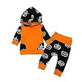 Oklan Newborn Baby Boy Halloween Outfits Pumpkin Devil Long Sleeve Hoodies Top with Devil Pants Clothes Set
