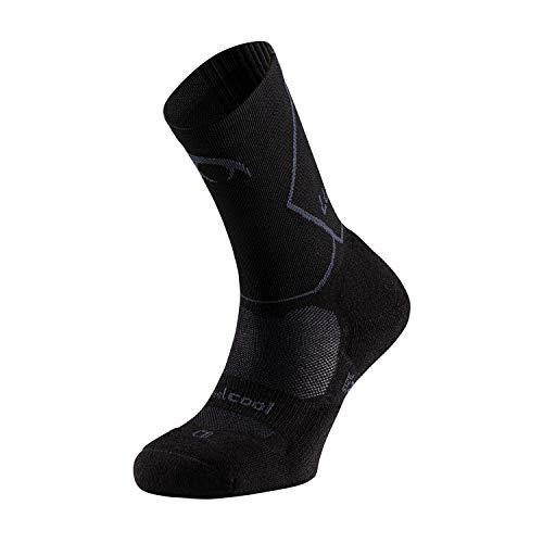 LURBEL Espidium, Calcetines Ultra trail, Calcetines compresivos, Calcetines sin costuras, Calcetines transpirables Anti-Ampollas, Calcetines para correr. (NEGRO - MARENGO, GRANDE - L)