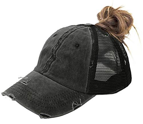 FGSS Unstructured Ponytail-Hat-Baseball Cap Mesh Distressed Women Ponycap (Black)