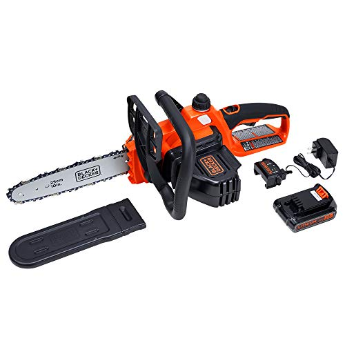 "BLACK+DECKER 20V MAX Lithium Chainsaw with 10"" Oregon Bar and Chain and Tool Free Tensioning - Orange Sorbet"