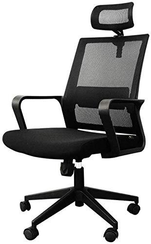 Goquik Life Ergonomische bureaustoel Hoge rug Mesh bureaustoel met verstelbare zithoogte, Lumbar ondersteuning en brede hoofdsteun