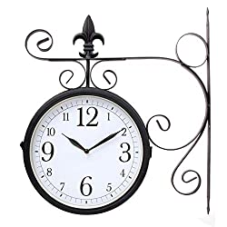 Lily's Home Vintage Victorian Inspired Outdoor Hanging Train Station Garden Dual Sided Clock Thermometer, Black Wrought Iron