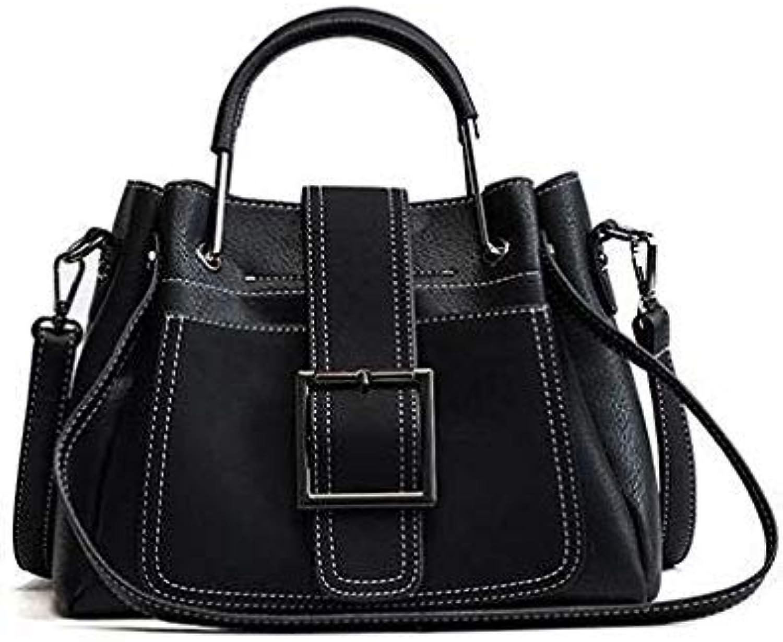 Bag Women Handbag Ladies Soft pu Leather Bag pin Type Women Bag Solid Fashion Shoulder sac Metal Handle Casual Tote Black 26x9x20cm