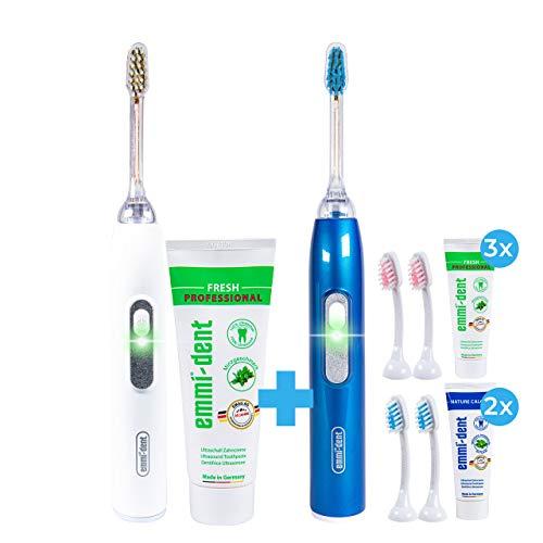 emmi-dent metallic elektrische Ultraschall Zahnbürste – Zähneputzen ohne Schrubben, mit hygienischer und antibakterieller Tiefenwirkung für empfindliche Zähne, (Family, Weiss)
