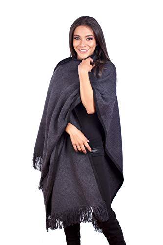 INTI ALPACA Strick Umhang für Damen aus Alpaka Wolle - Gestrickter Mäntel Poncho - Damen Alpaka Poncho -Umschlagtücher - Anden Ruana - Grau - Einheitsgröße