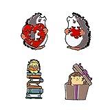 MYQ 4 pcs/Ensemble Animal de Bande Dessinée Badges Hérisson Rouge en Forme de Coeur Puzzle Livres Boîte-Cadeau Émail Broches Sac Vêtements Revers Broches pour Amis Enfants