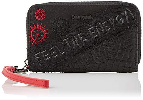 Desigual Wallet Rep Comunika Mini Zi, Monedero para Mujer, Negro (NEGRO 2000), 2 x 9 x 15 cm (B x H x T)