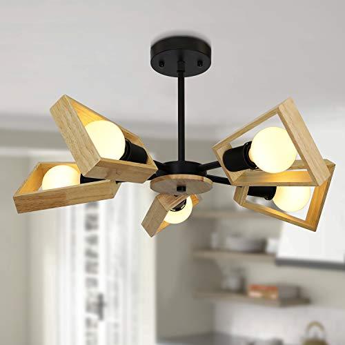 GBLY Deckenleuchte Holz Deckenlampe Vintage E27 Φ65cm Wohnzimmerlampe 5 Flammig Kronleuchter Wohnzimmer Höhenverstellbare Schlafzimmerlampe Esszimmerlampe Innen Deckenbeleuchtung (Ohne Glühbirnen)