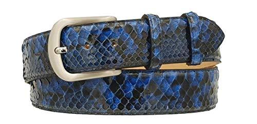 ESPERANTO Cintura 4 cm in Vera Pelle di Pitone Blu con fodera Nabuk e fibbia Nichel free (Tg 52- LUNG TOTALE 120 CM-GIROVITA 105 CM)