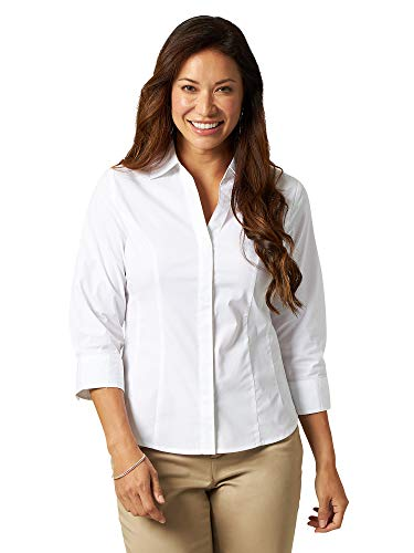 Riders by Lee Indigo womens Easy Care ¾ Sleeve Woven Shirt,Arctic White,Small