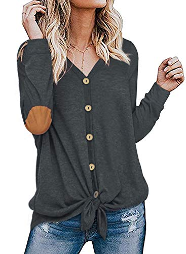 Womens Long Sleeve Shirts Elbow Patch Button Front Tie Knot Loose Fitting Tops Blouses Grey L