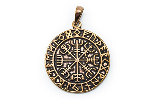 Windalf Wikinger Schmuck-Anhänger RAGSØN Ø 2.7 cm Vikings Amulett Runen Kompass Vegvisir Bronze