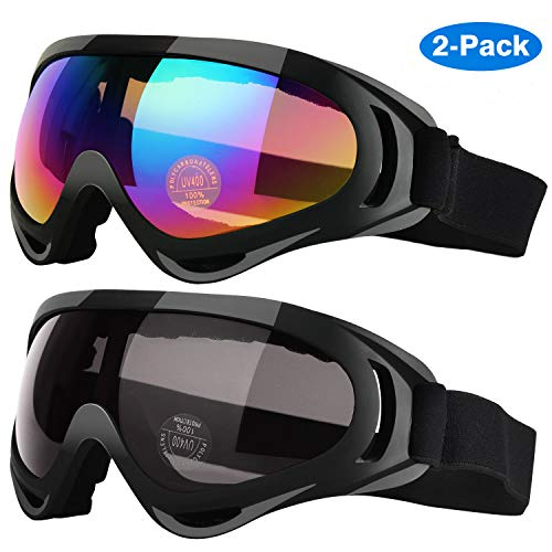 Elimoons Ski Goggles, Pack of 2, Snowboard Goggles for Kids, Boys & Girls, Youth, Men & Women, with UV 400 Protection, Wind Resistance, Anti-Glare Lenses