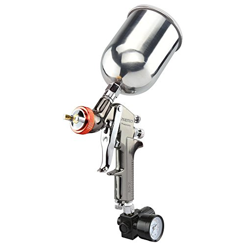 NEIKO 31216A HVLP Gravity Feed Air Spray Paint Gun | 2.0 mm Nozzle Size | 600 cc | Air Gauge Regulator