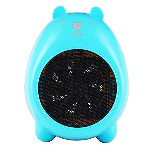 NIUFG Mini soplador de Aire eléctrico de 400W, Ventilador de calefacción con Dibujos Animados, práctico Calentador Personal, Calentador de cerámica para el hogar (Color : Blue)