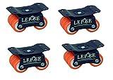 Lepose 6 Wheel Castor Wheels Revolving- 4 Wheel Set (Blue and Orange)