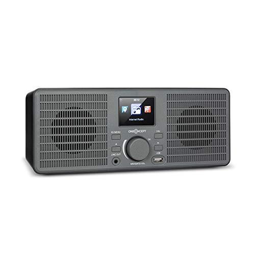 "oneConcept TuneUp ST - Internetradio, WLAN-Schnittstelle, Leistung: 10 Watt, App-Control mit AirMusic App, Line-Ausgang, 2,4\""-HCC Display (High Contrast and Color), dunkelgrau"
