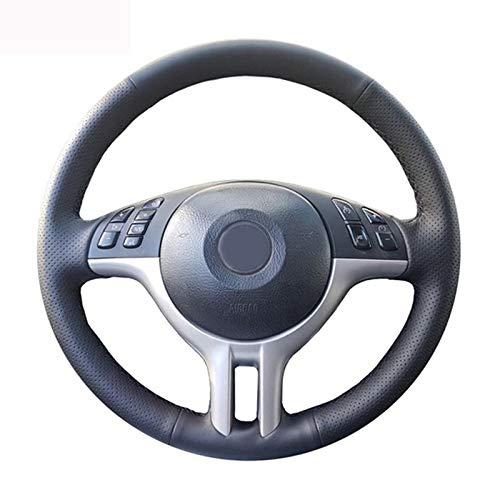 HCDSWSN DIY Personalizado Cosido a Mano de Cuero Artificial Negro Cubierta del Volante del Coche para BMW E39 E46 325i E53 X5 X3