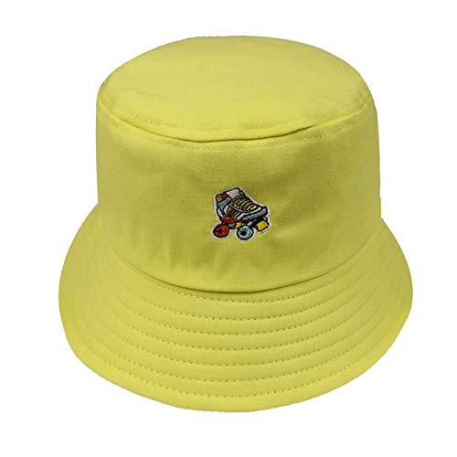 Bucket Hat Chapeau Noir Blanc Rose Couleur Skates Bucket Hat Femmes Mode Casquettes Jaune