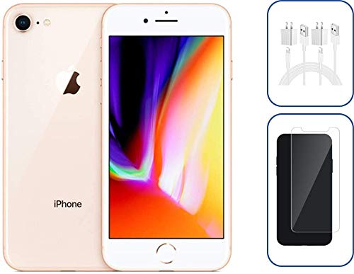 Refurbished Apple iPhone 8, 64GB, Gold - Fully Unlocked - with Tempered Glass Screen Protector and Extra Charger Included.