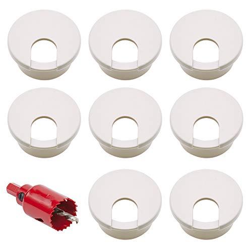 Nsiwem Kabeldurchführung 16 Stück Schreibtisch Tülle Kunststoff Kabeldurchlass Weiß Kabelloch für schreibtisch 35 mm Durchmesser Schreibtisch lochabdeckung für Möbel und Schreibtisch mit Lochsäge