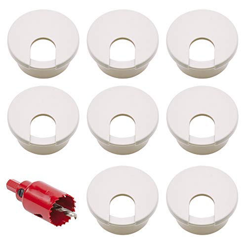 Nsiwem Pasacables de Mesa Circular 16 Piezas Tapa Cables Tapa pasacables encastrable Organizador de Alambre 35mm en plástico Blanco para Escritorio Gestión de Cables con 35mm Sierras de Agujero