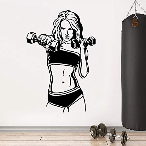 HNXDP Diy Wandaufkleber Frau Gym Home Decor Pvc Aufkleber für Fitnessraum Dekor Wandkunst Aufkleber Flugzeug Wandaufkleber Wandbild 57cmX84cm
