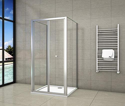 Mampara de ducha cuadrada con puerta plegable, una puerta plegable + 2...