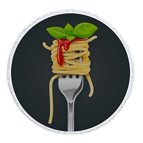 Olie Cam Runde Strandtuch Decke Spaghetti Gabel Basilikum Sauce Pasta Bio-Druck