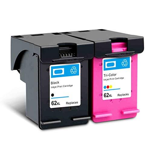 Wiederaufbereitete Tintenpatronen 62XL Schwarz, Ersatz für HP OfficeJet 200 258 5540 5542 5640 Hochleistungs-Tintenstrahldrucker-Patronen, vier Farben Schwarz und Farbe