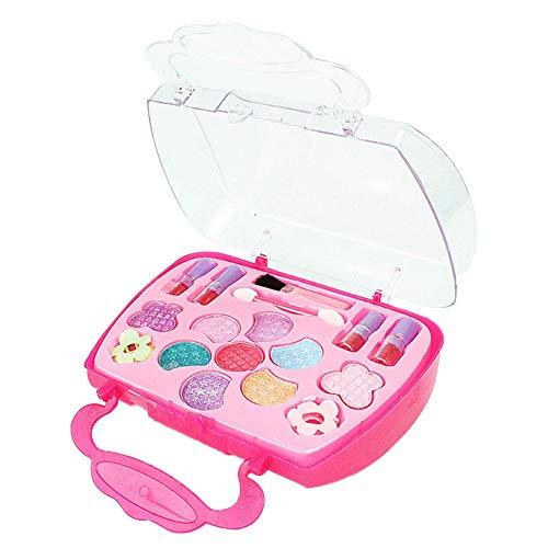 tackjoke Set de Caja de Maquillaje de Color Rosa Set de cosméticos de Belleza Infantil Real no tóxico Juego de Juego Fiesta de cumpleaños de Navidad de Halloween Mi Primer Juego de Maquillaje Comfy