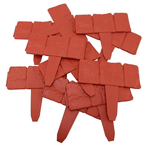 TaoToa 10 Unid Naranja Rojo JardíN Cerca de la Valla Efecto de Piedra Adoquinada PP CéSped Ribete Planta Borde Decoraciones Frontera de la Cama de Flores