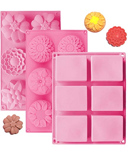 OBSGUMU 3 Pack Silicone Soap Molds,6 Cavities Silicone Baking Mold,Rectangle and Different Flower Shapes, Perfect for Soap Making, Handmade Cake Chocolate Biscuit, Pudding. BPA Free (Pink)